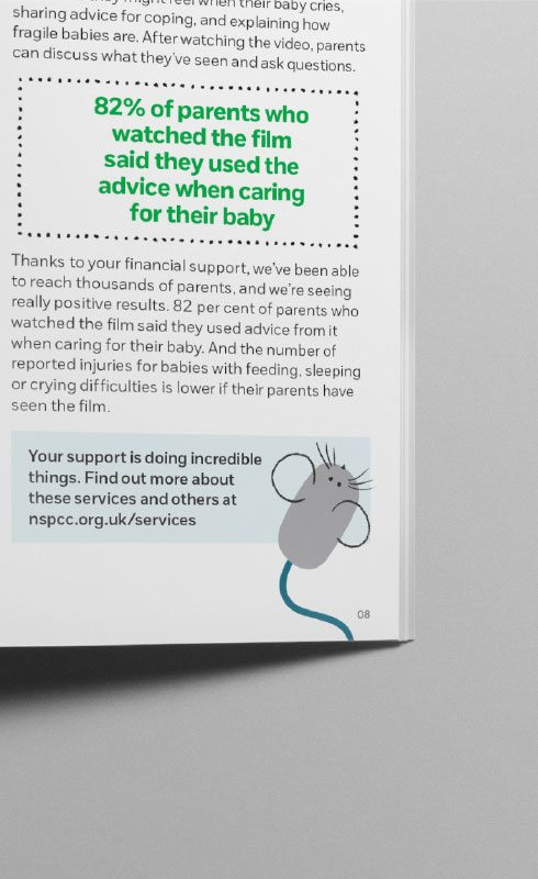 NSPCC mouse brand illustration for Supporter magazine.