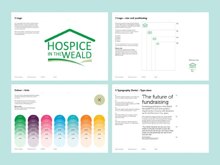 Strengthening brand identity, logo placement, typeface and colour palettes from the Hospice in the Weald brand guidelines.