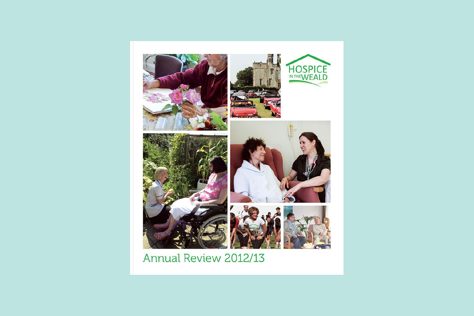 Montage of patients and fundraisers on the cover of the Annual Review
