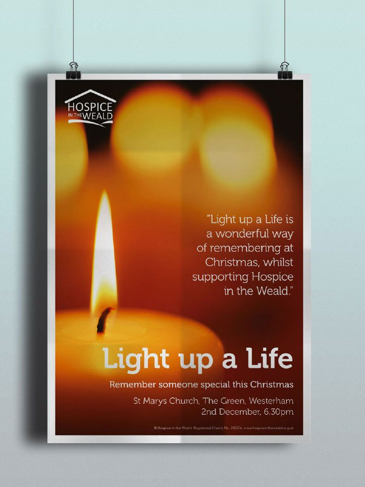 Flickering candle on in memory fundraising flyer for Hospice int he Weald