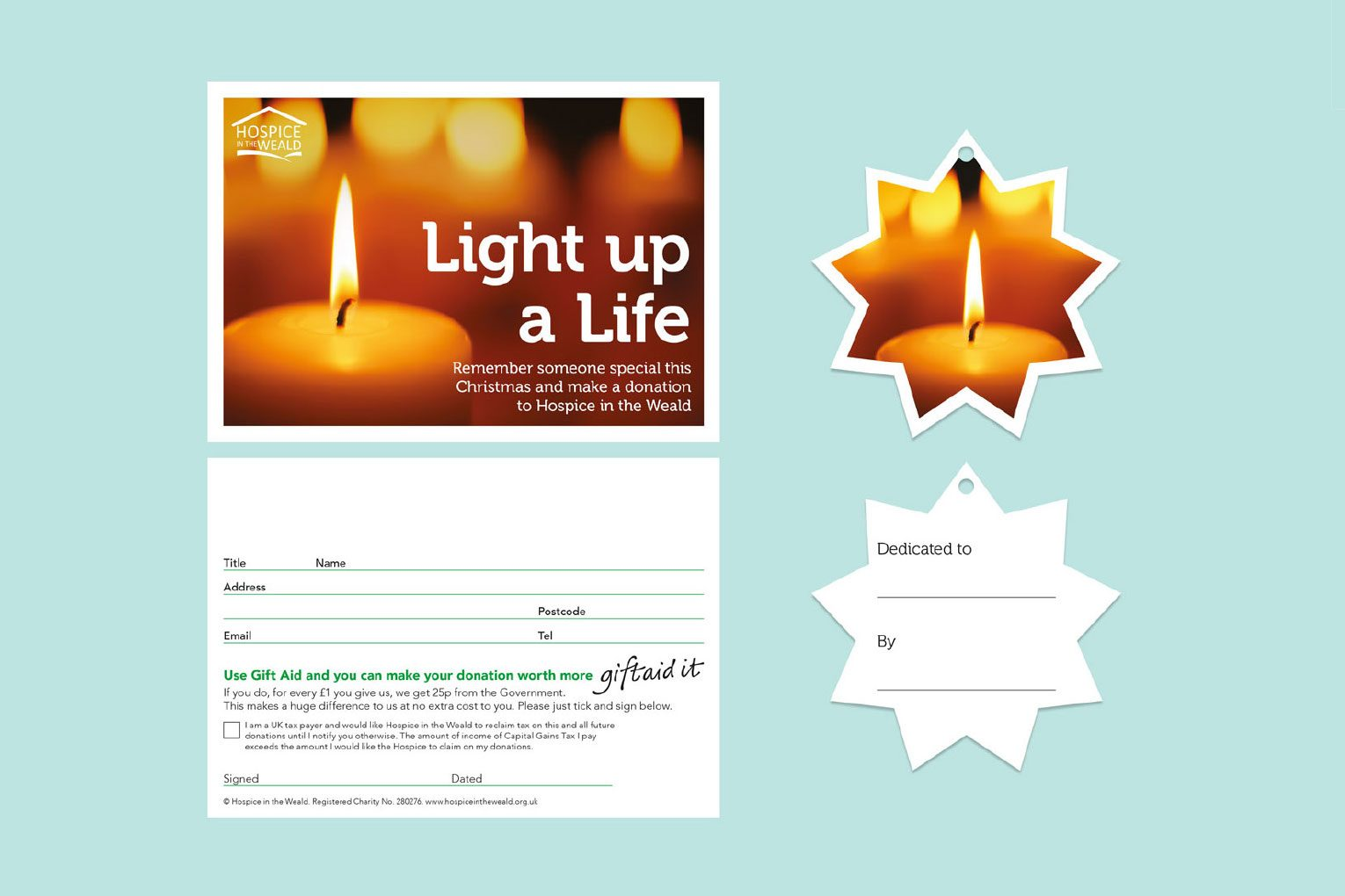 In memory gift aid postcard and dedication star for Light up a Life campaign