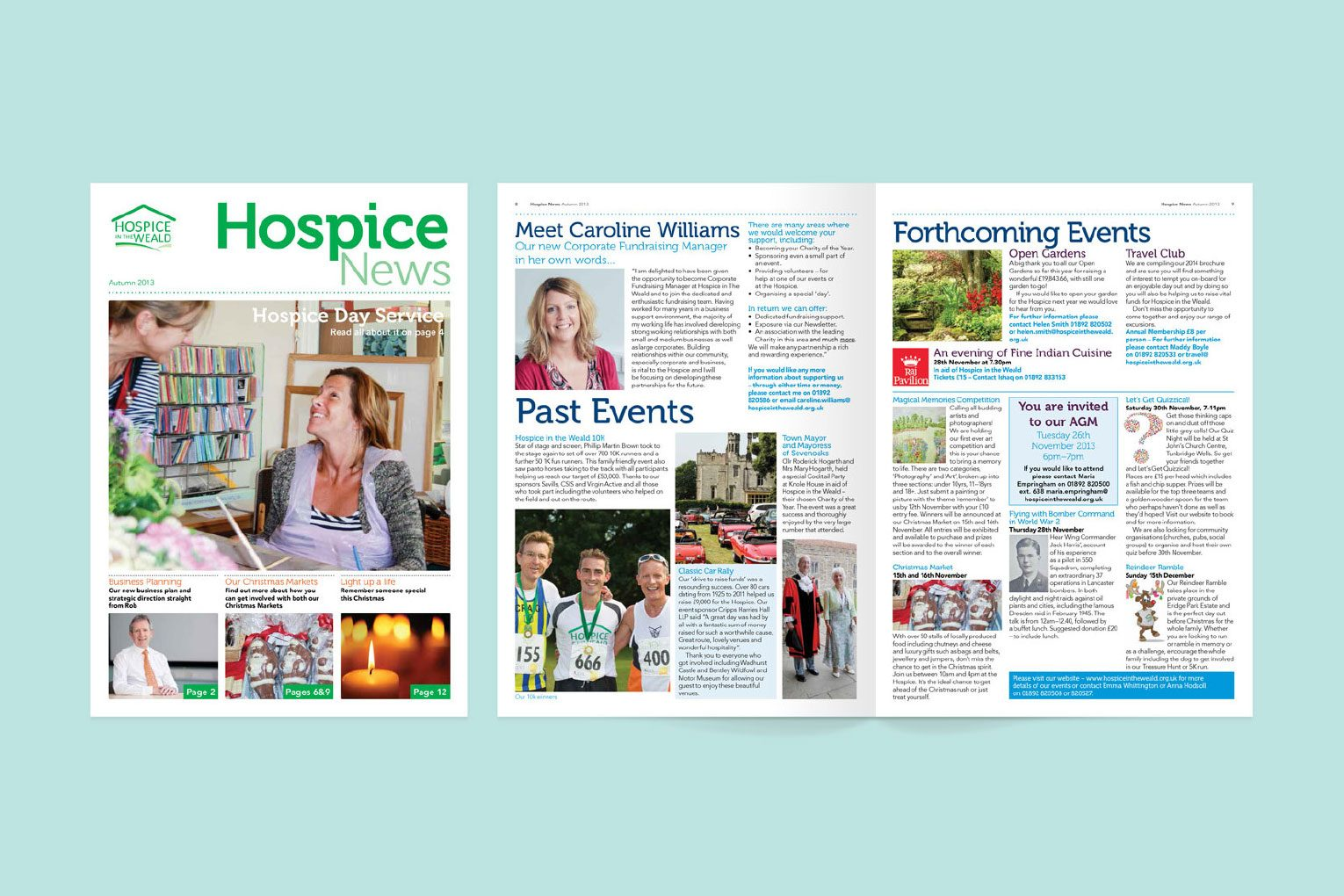 Front cover and double spread of Hospice News newsletter.