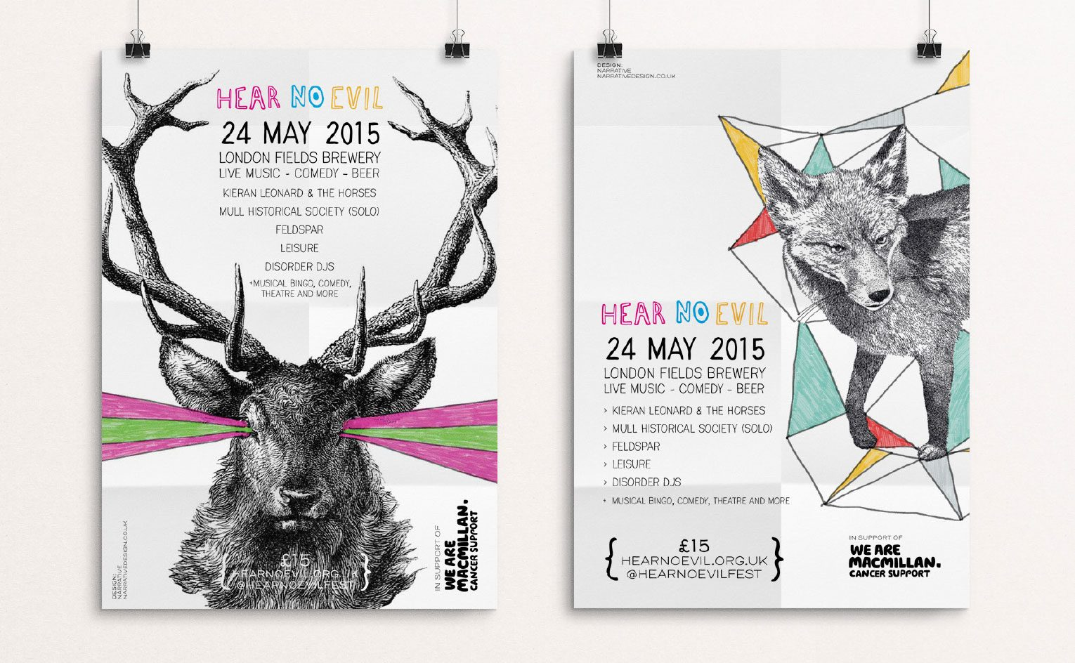 Event posters featuring illustrations of stag and fox.