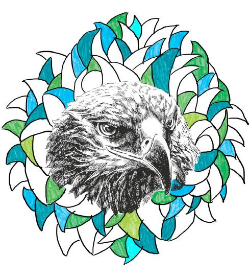 Illustration of an eagle's head against the abstract brand shape.