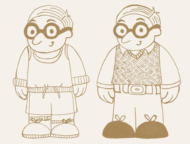 Brand awareness illustration of Ifan the character in two outfits.