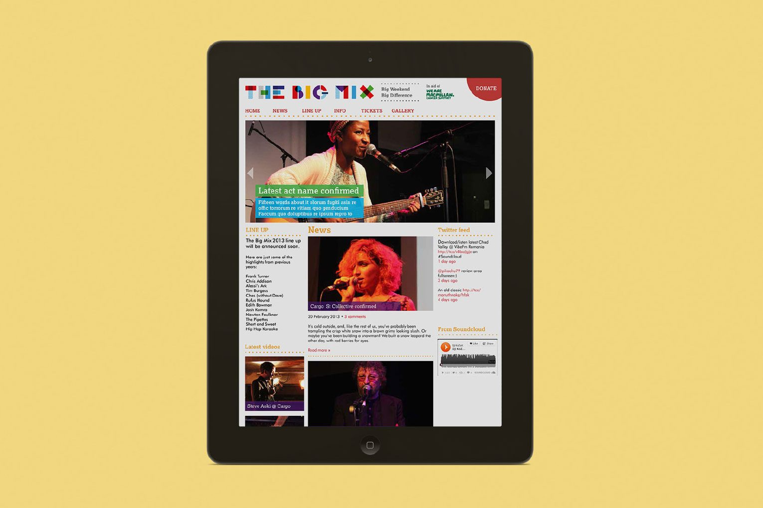Festival branding homepage of Big Mix charity music festival on iPad.
