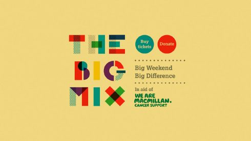 Festival branding Macmillan Big Mix music festival brand elements.