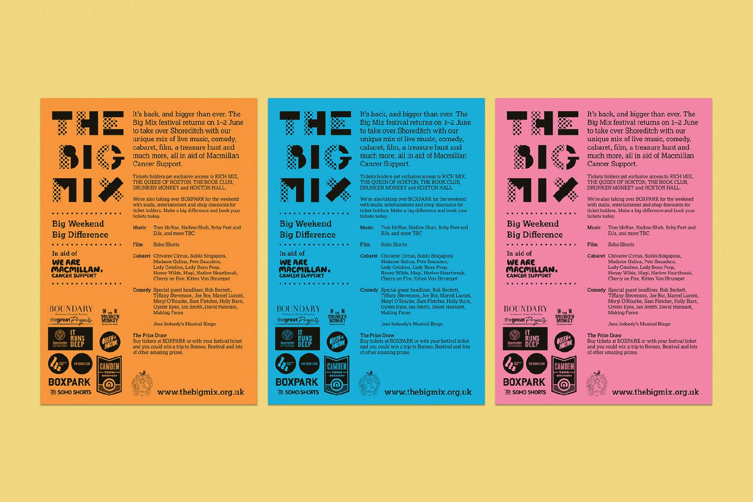 The Big Mix Music festival promotional flyers in orange, blue and pink.