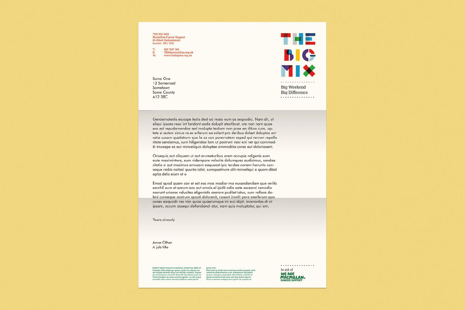 The Big Mix official branded letterhead.