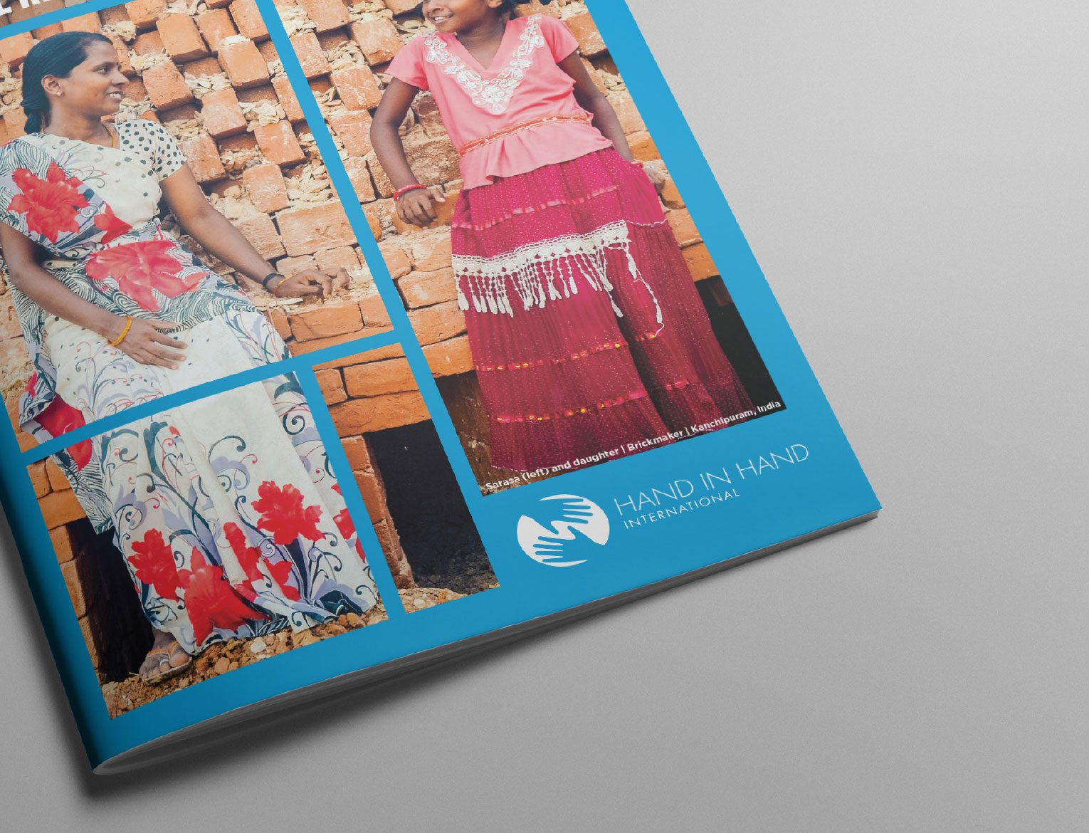 Cover of Annual Report with a happy child and women leaning against bricks talking
