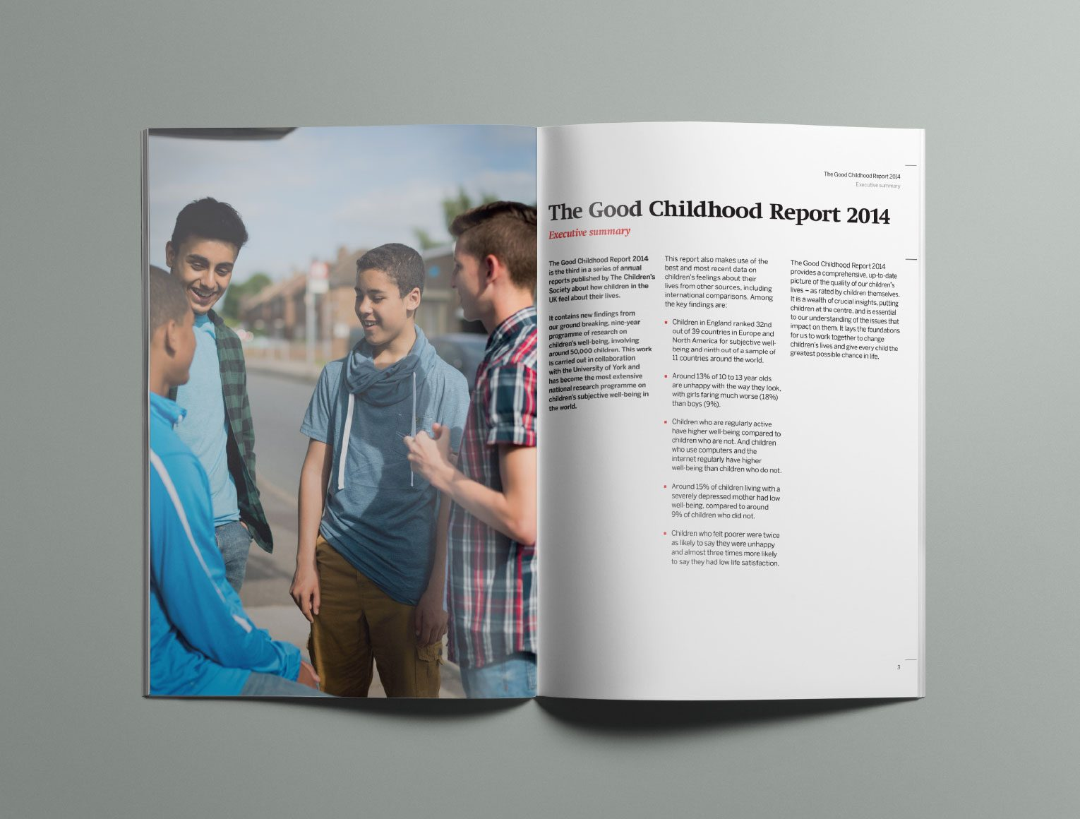 Research report executive summary spread from The Good Childhood Report.