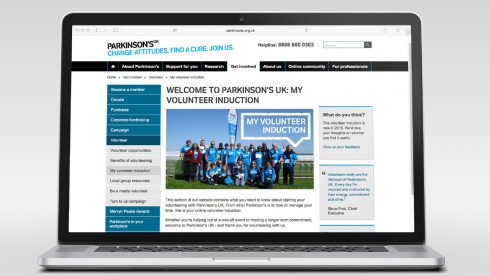 Homepage of the Volunteer induction modules.