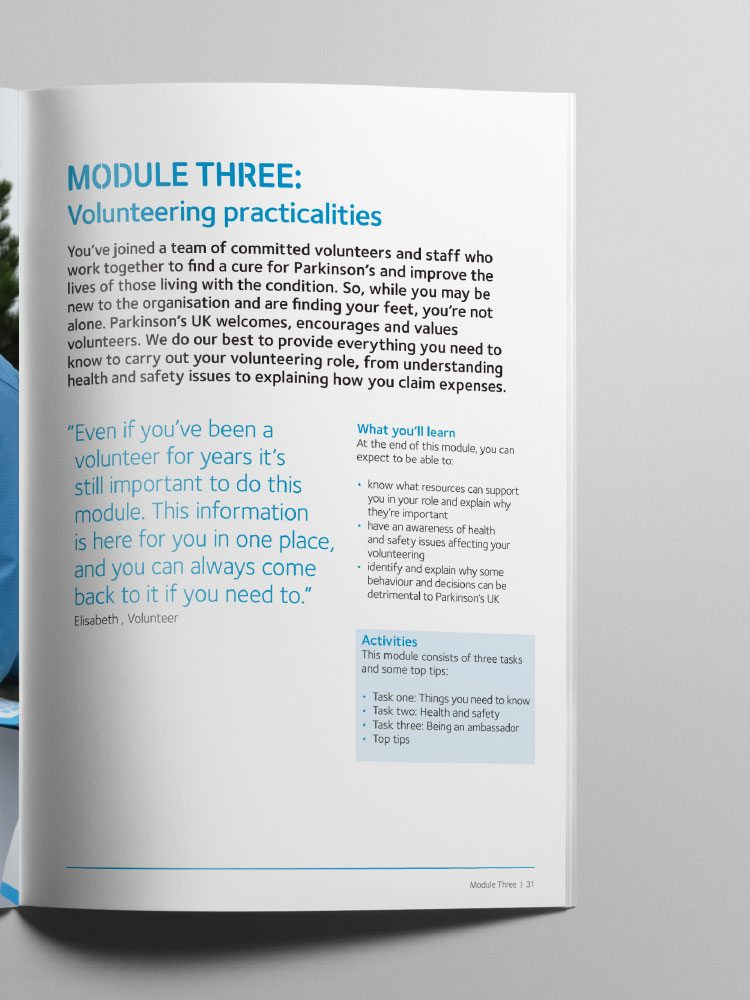 Designed page from Parkinson's UK Volunteer Induction printed manual.