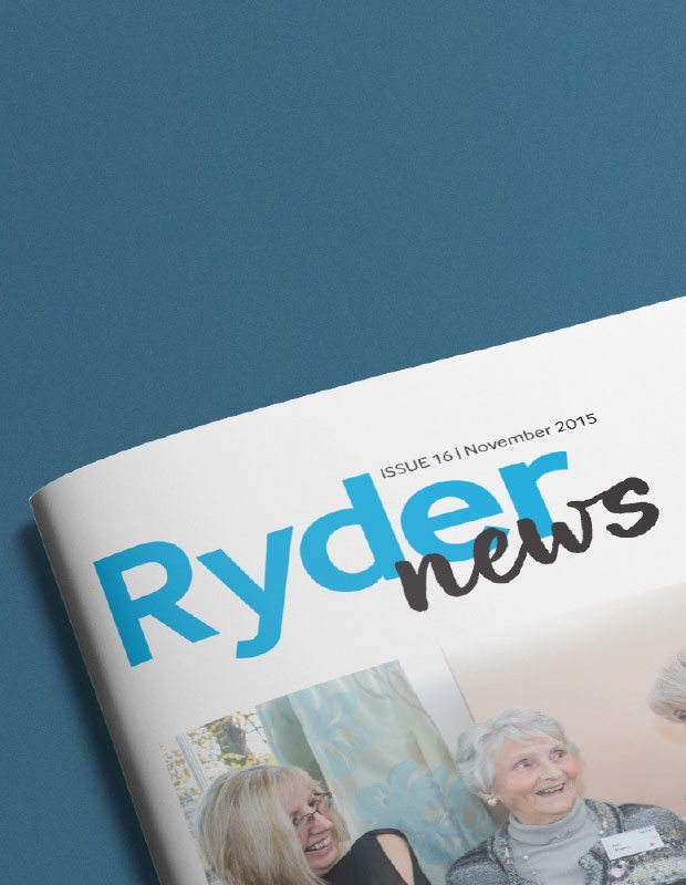 Internal staff magazine front cover redesigned for Sue Ryder.