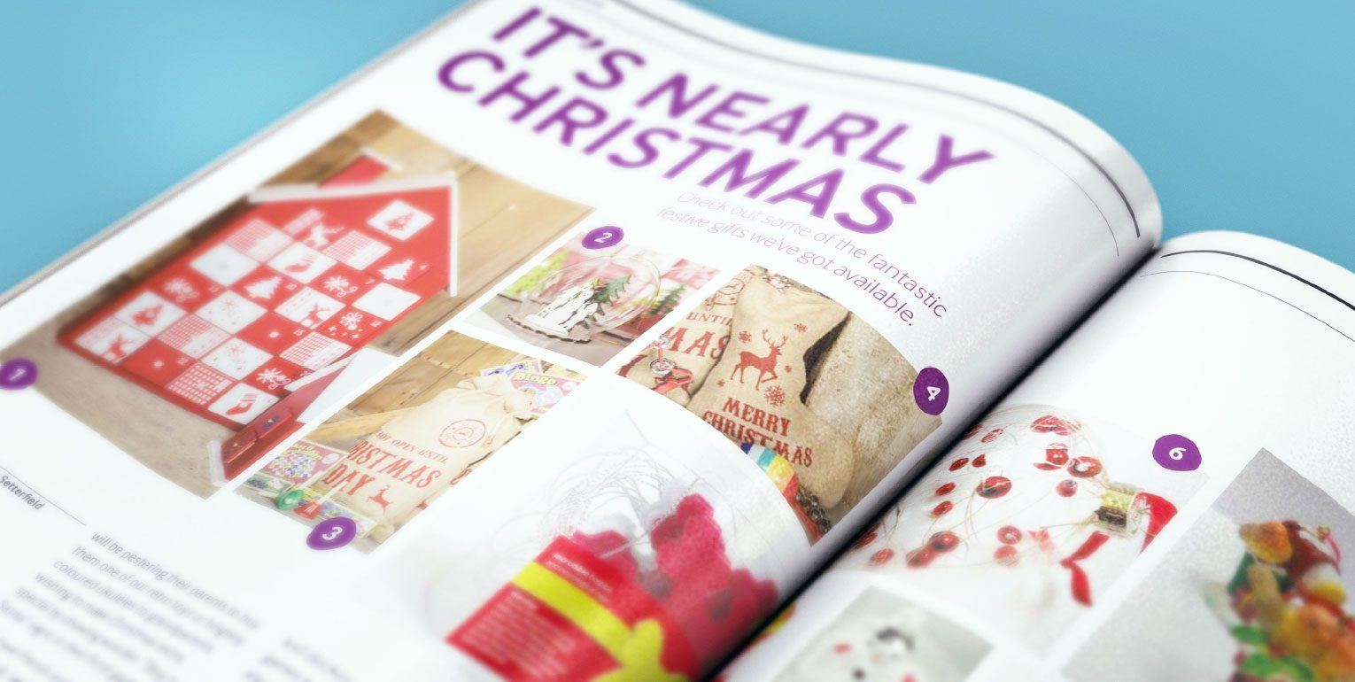 Internal staff magazine image spread of items available in Sue Ryder shops.