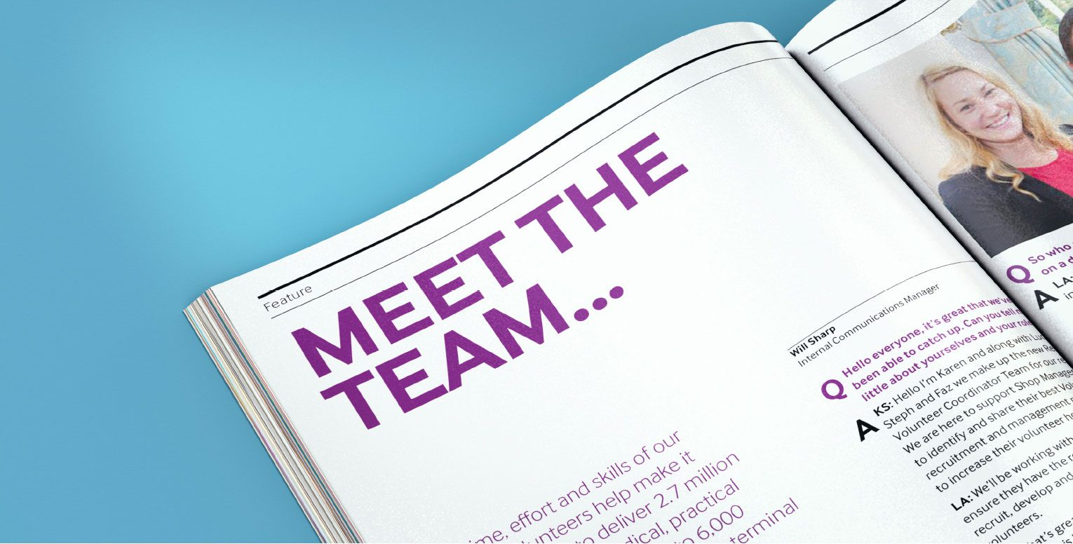 Introduction of Meet the Team section of the magazine.