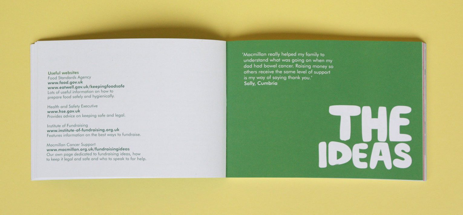Inside spread from the Macmillan little green book of fundraising ideas.