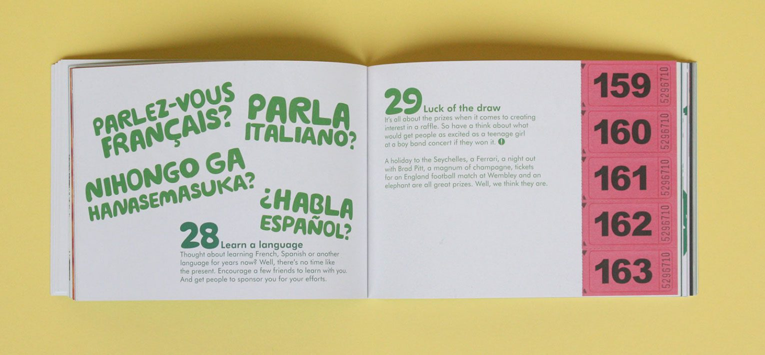 Learn a language and luck of the draw ideas from the Little green book of fundraising ideas.