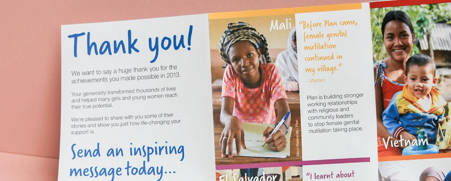 Supporter thank you mailer for Plan UK.