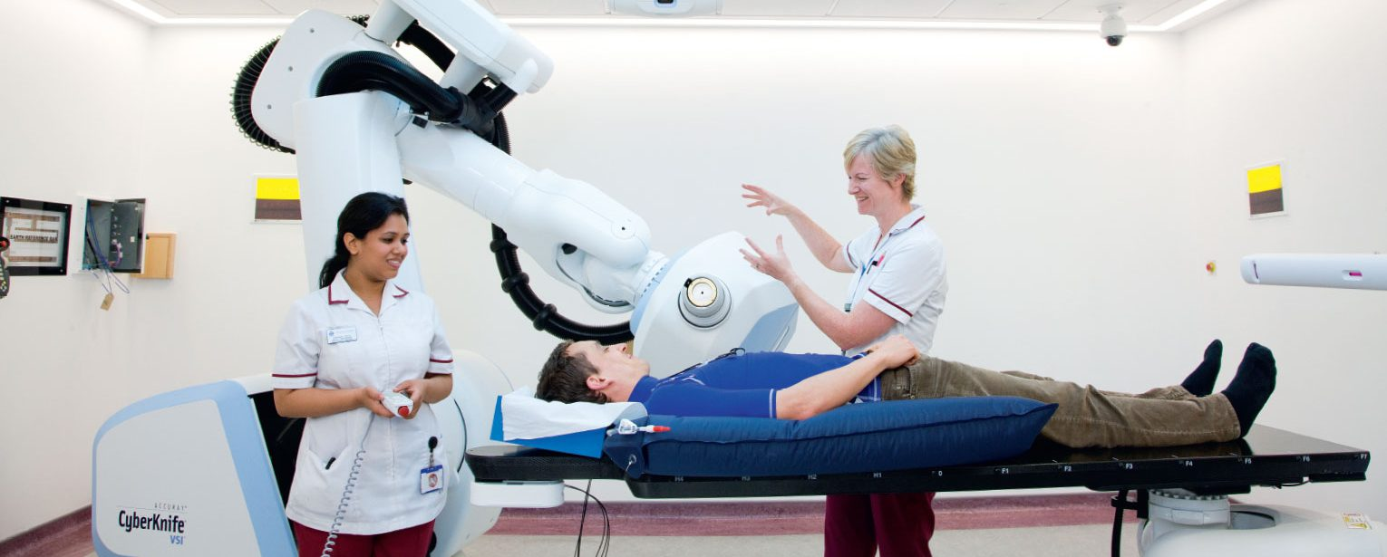 Fundraising DM pack nurses at The Royal Marsden with the CyberKnife Robotic Radiosurgery System.