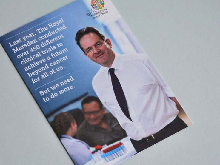 Fundraising DM pack leaflet on clinical trials.