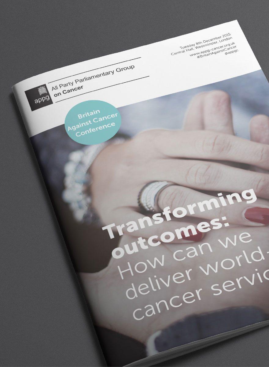 Front cover of the re-designed Britain Against Cancer conference programme.