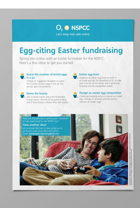 Easter fundraising poster for NSPCC and O2.