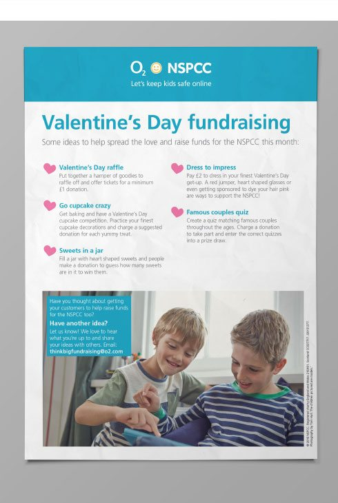Valentine's fundraising poster for NSPCC and O2.