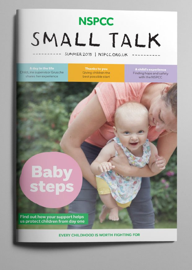Full cover of the Summer 2015 Small Talk supporter magazine for NSPCC.