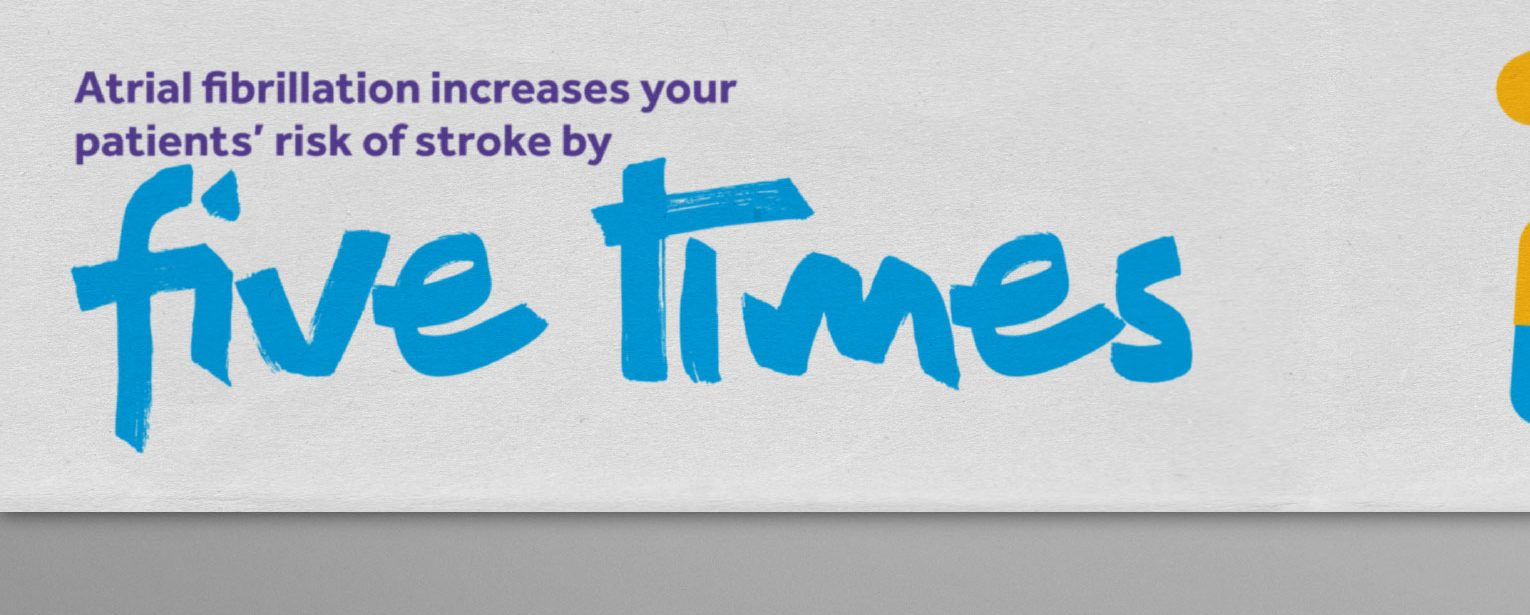 Mailing pack stat revealing patients with AF increase their chances of stroke by five times.
