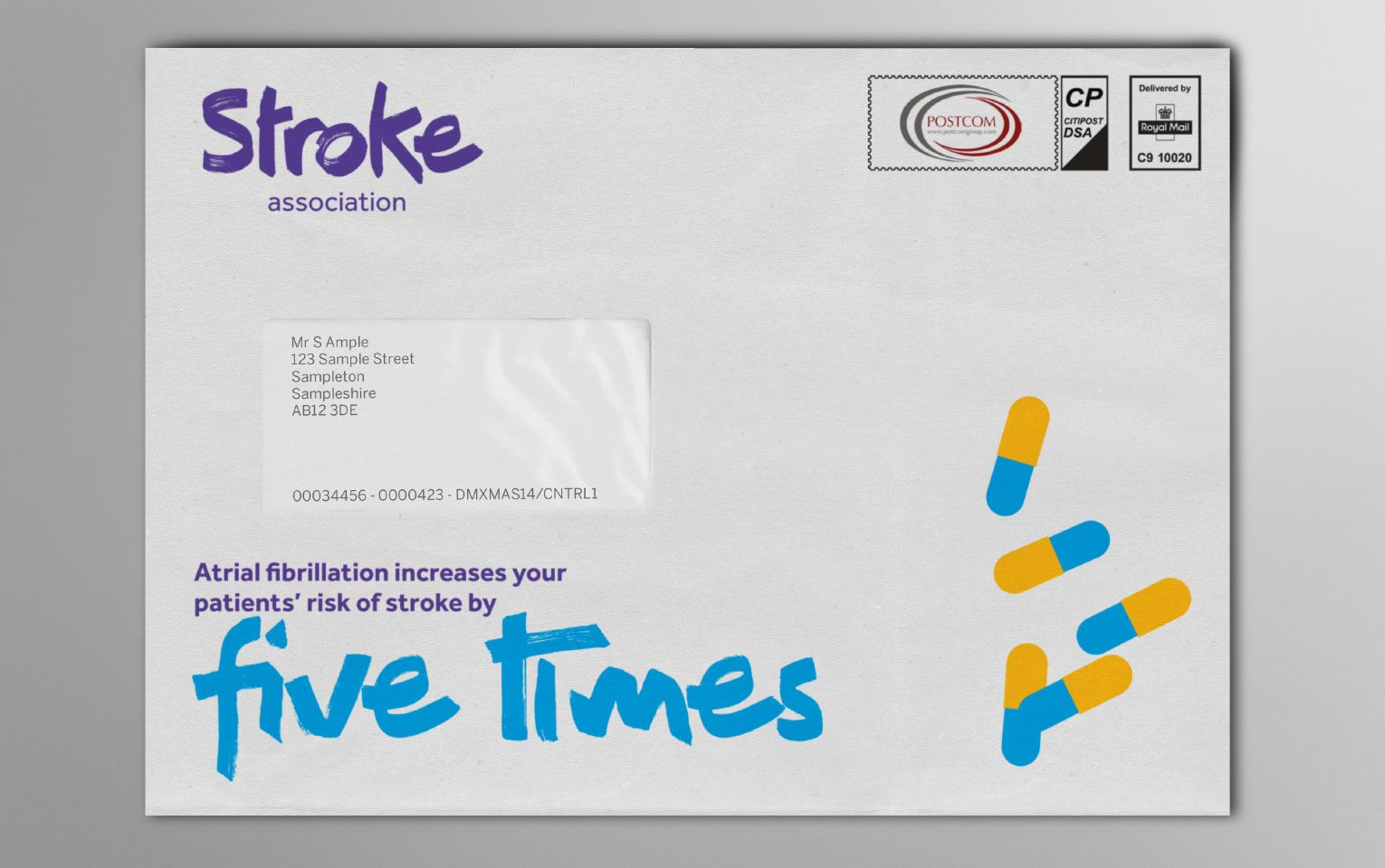 Mailing pack branded envelope for the Stroke Association.