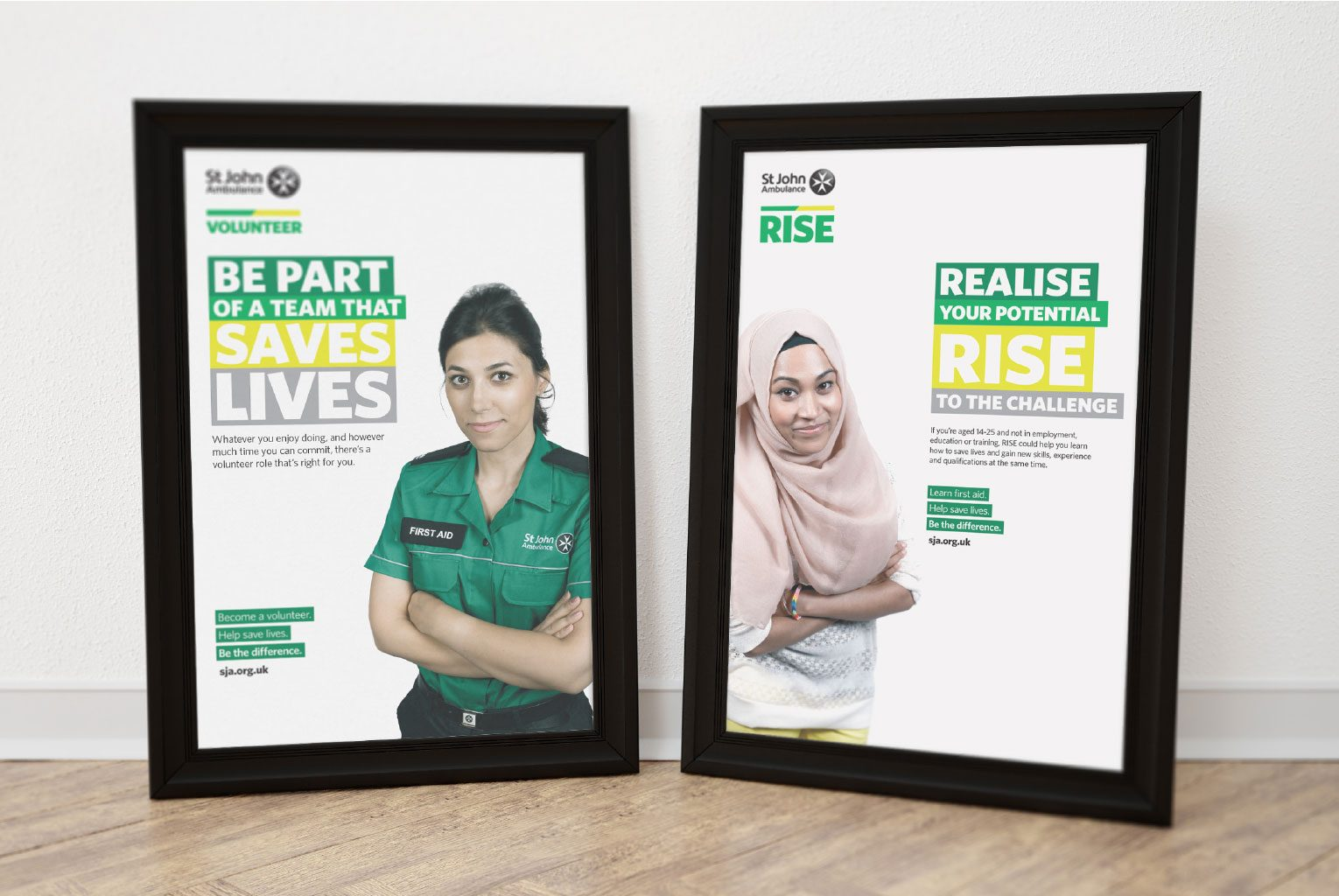 Framed posters in the new brand encouraging people to become volunteers for St John Ambulance.
