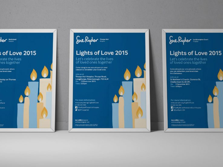 Branded flyers advertising Lights of love services.