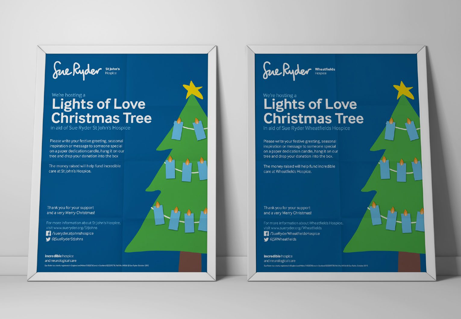Christmas tree flyers promoting the Lights of love service at the Wheatfields Hospice.