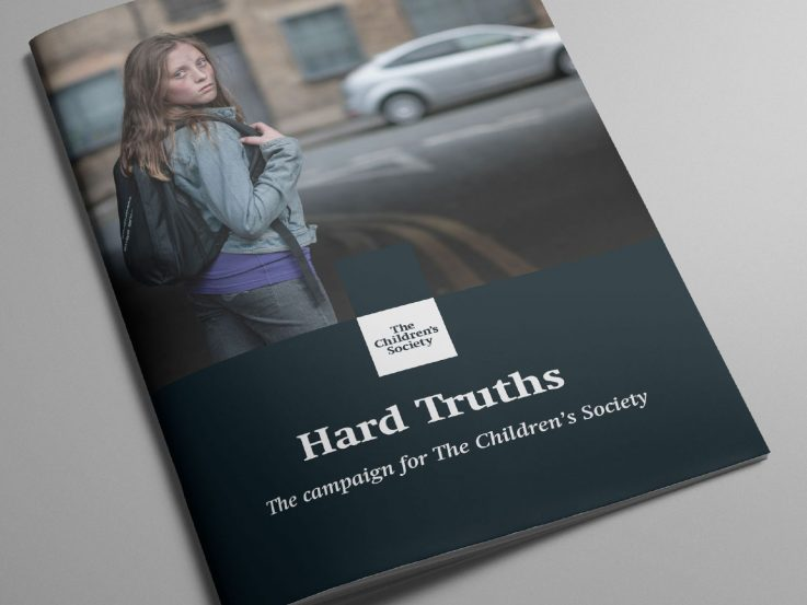 Major donor fundraising neglected teenage on the cover of the Hard Truths campaign cover.