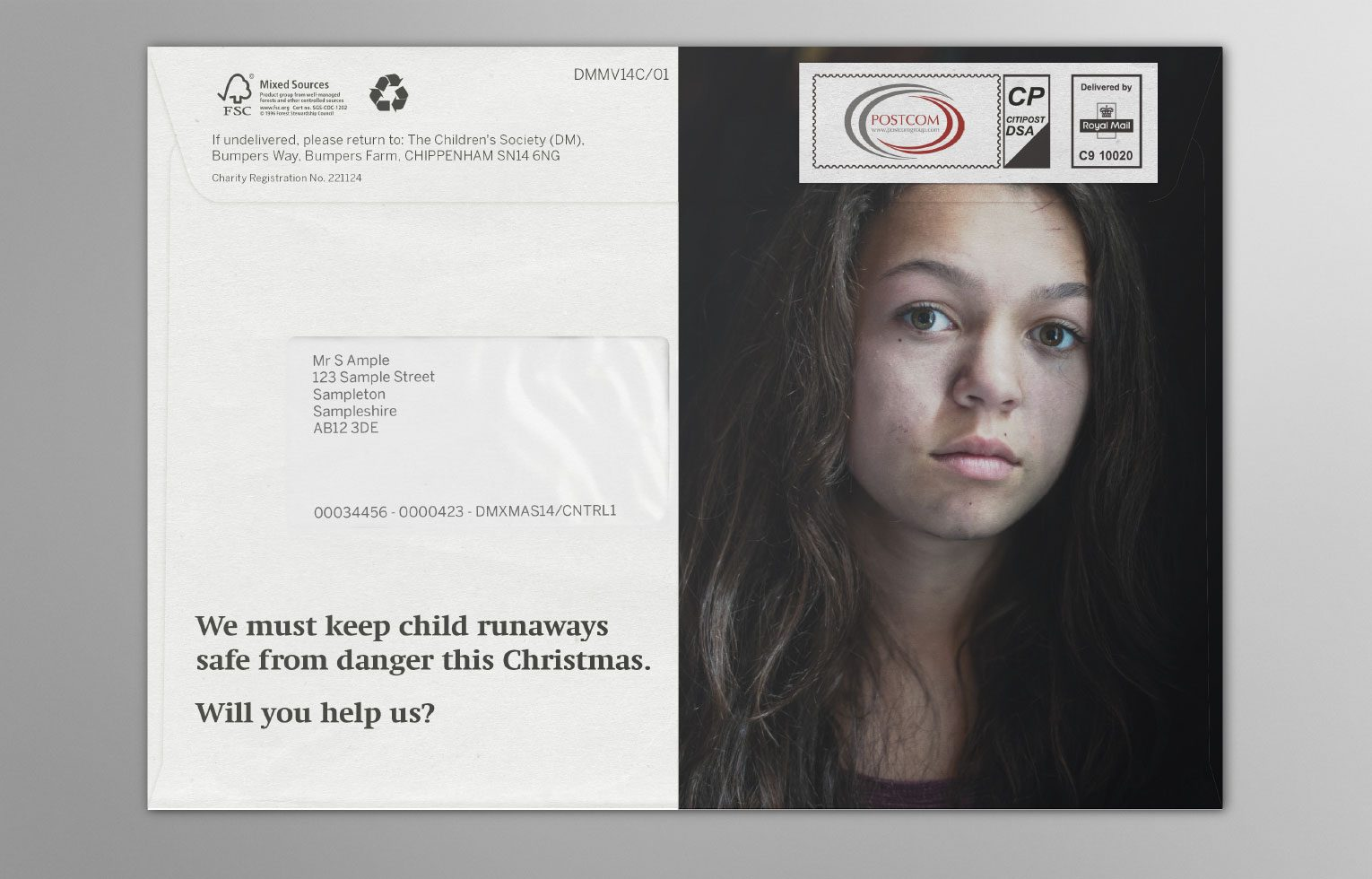 Christmas charity appeal outer runaway teenage girl.
