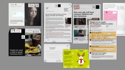 Christmas charity appeal DM pack elements.