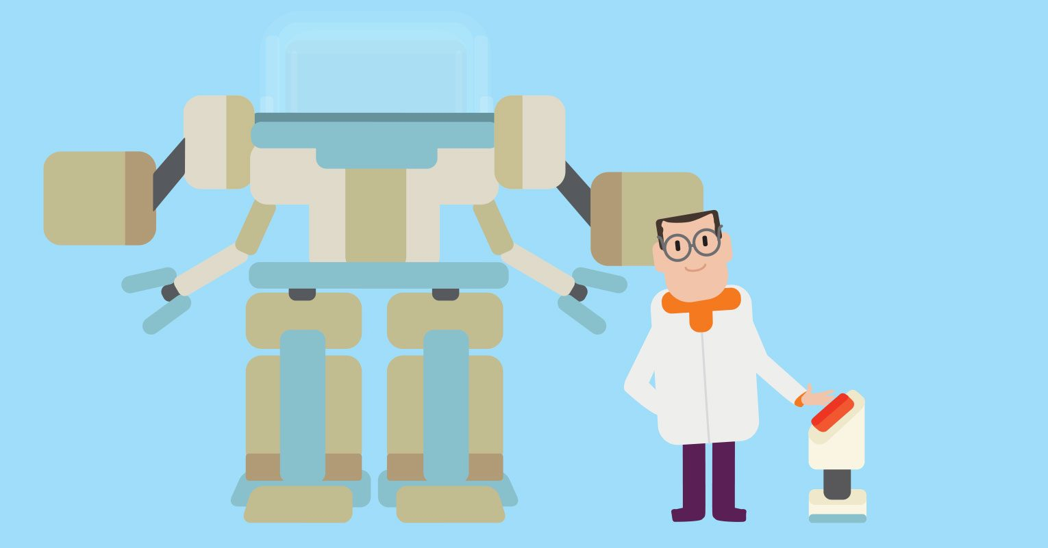 Robot and scientist illustration.