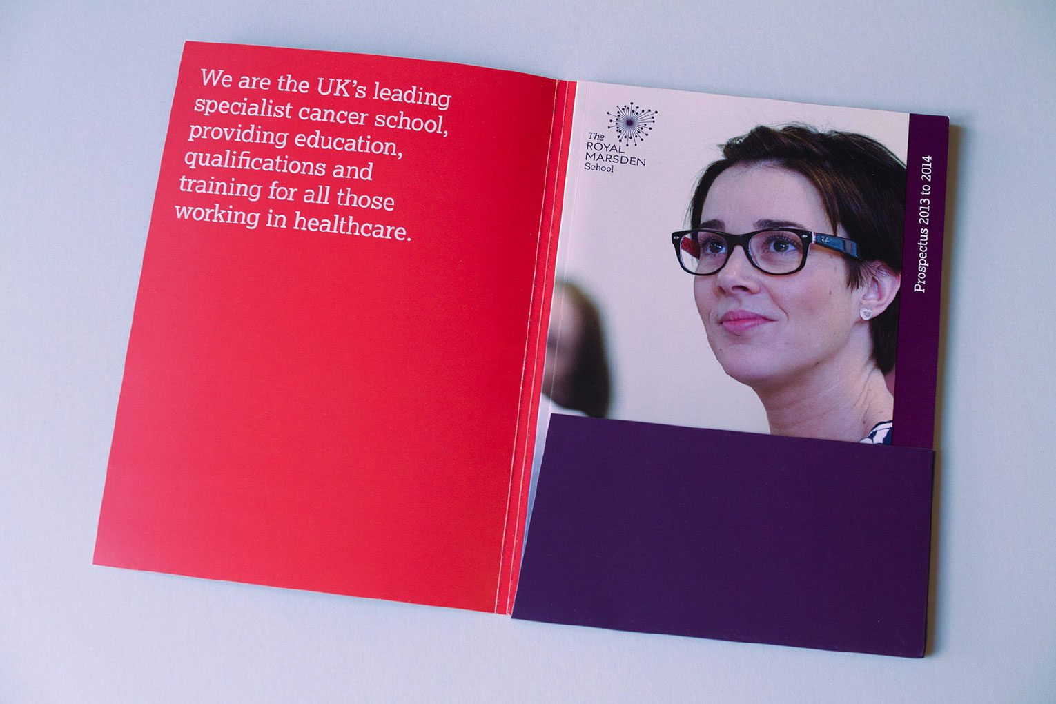 Cancer education for healthcare professionals inside course folder and cover of prospectus.