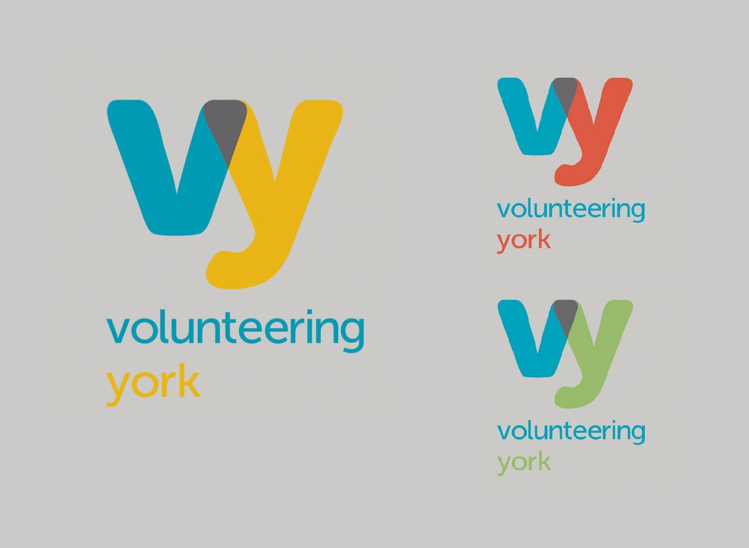 Changing brand perceptions Volunteering York logos and colour palette.