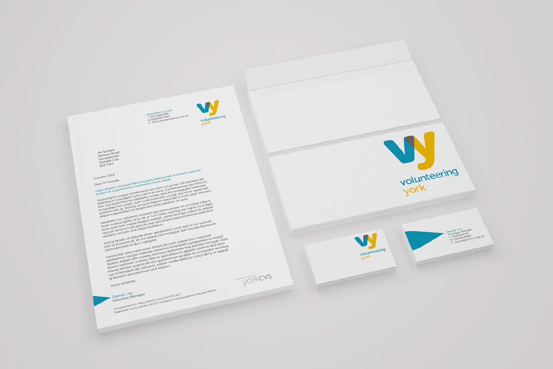 Volunteering York branded stationery.