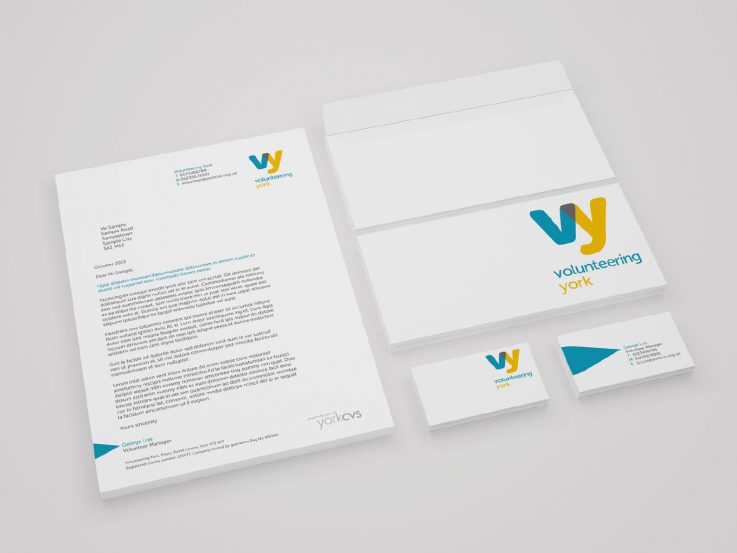 Volunteering York branded stationery.