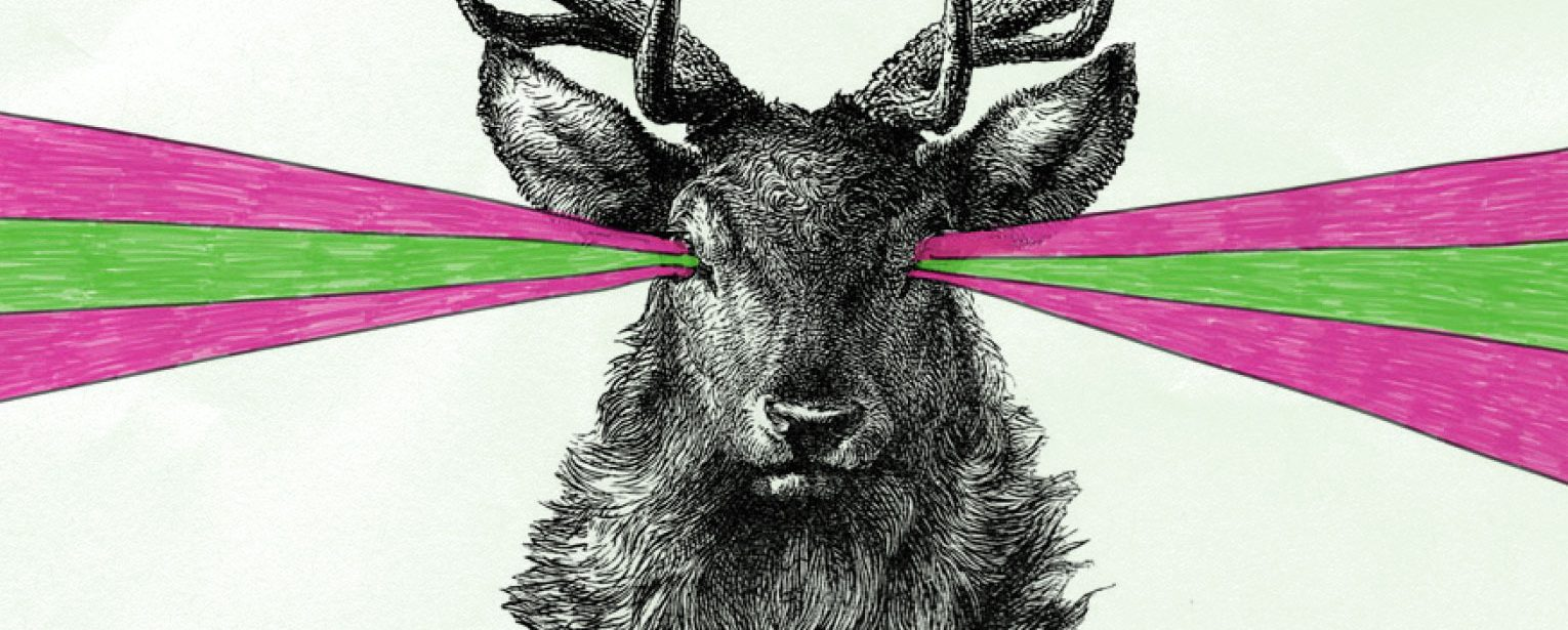 Illustrated stag with coloured beams extending from its eyes.