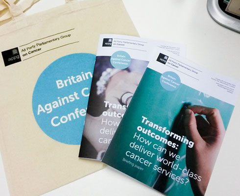 Contents of the re-designed Britain Against Cancer conference pack.