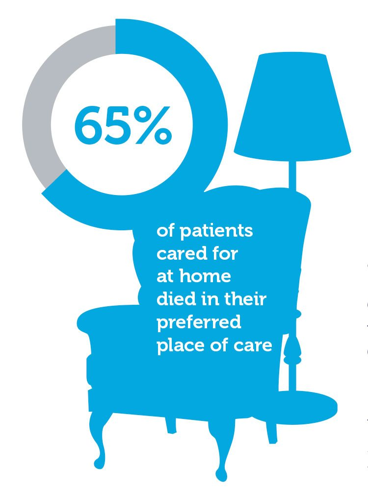 Infographic showing the number of patients cared for at home