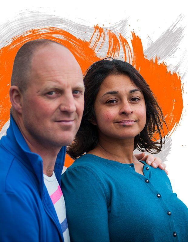 New fundraising visual identity image treatment. Orange and grey swirls behind man and woman.