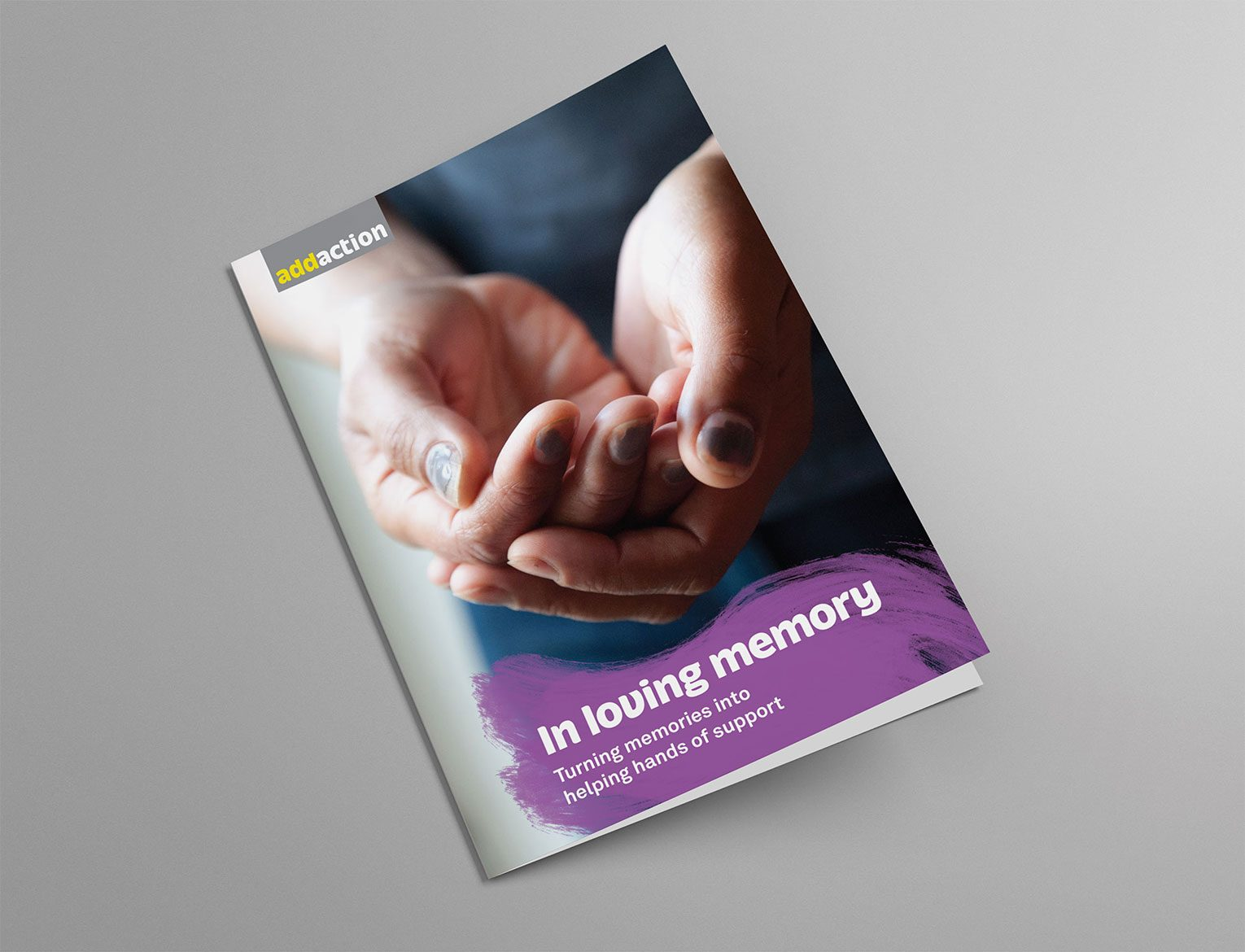 New fundraising visual identity on In Mem leaflet