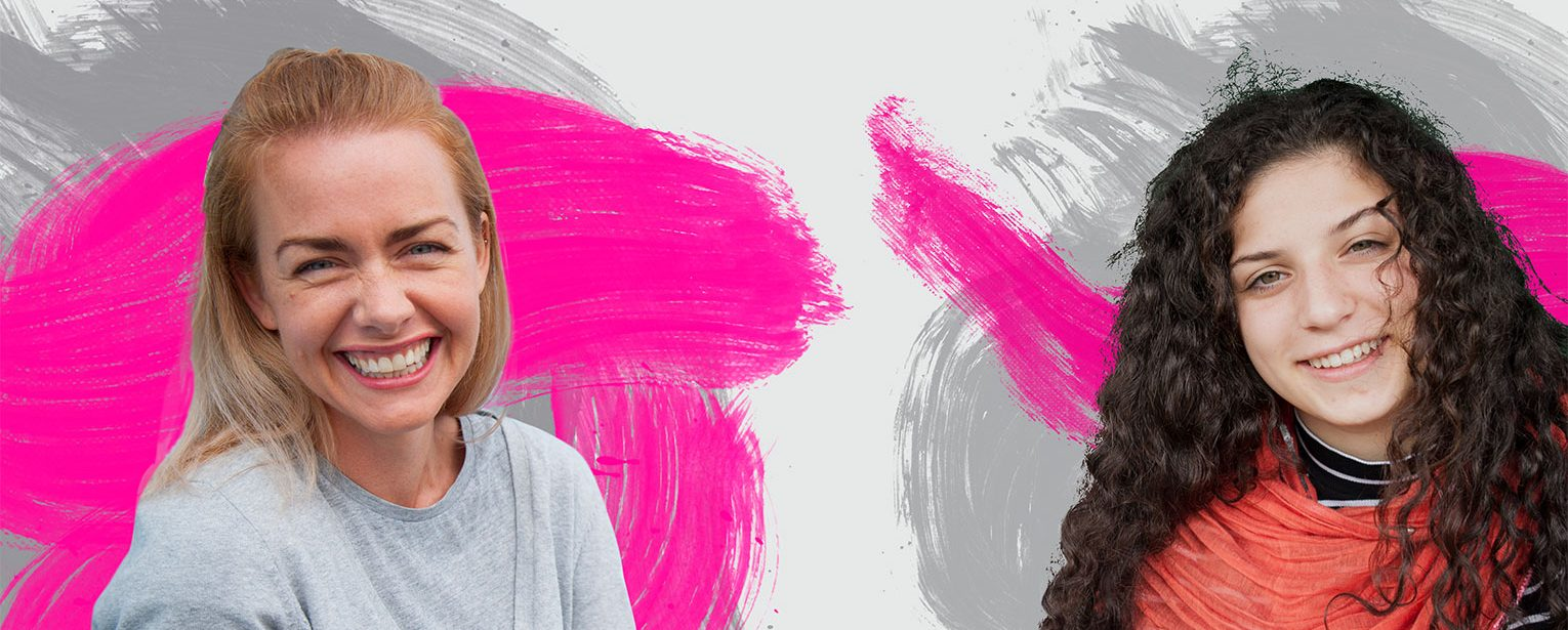 New fundraising visual identity image treatment. Pink and grey swirls behind woman and girl.