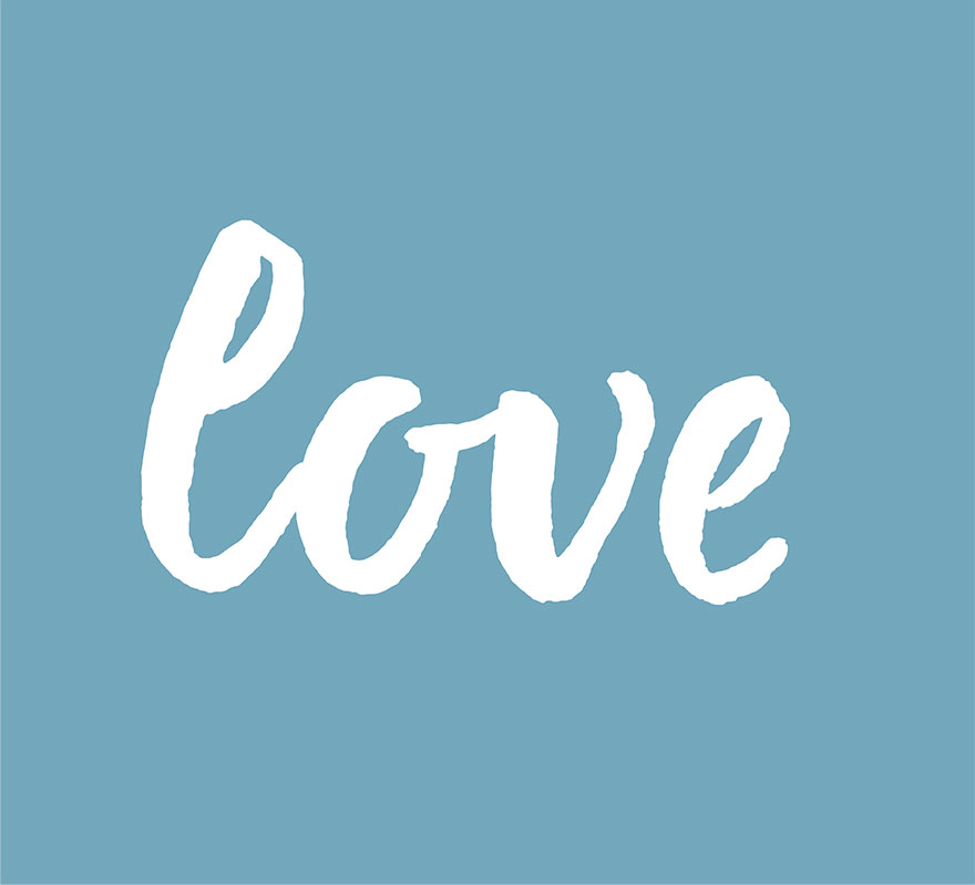 The word love on blue background.