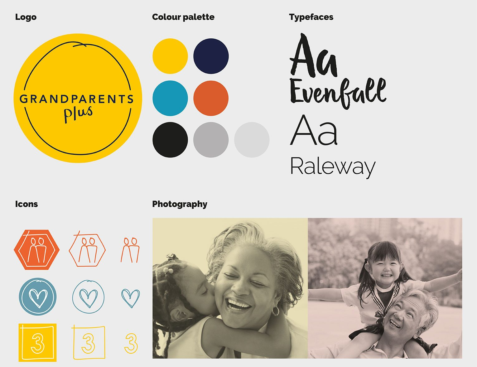 Snapshot of Grandparents Plus visual identity showing logo, colours, typeface, icons and images.